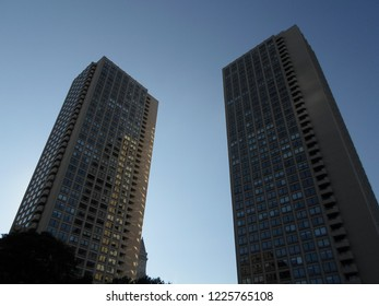 Boston, Massachusetts / USA - 11/9/2018: Harbor Towers, Boston Harbor