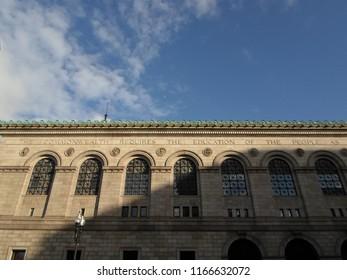 Boston, Massachusetts / USA - 8/28/2018: Exterior of Boston Public Library, Central Branch, Copley Square