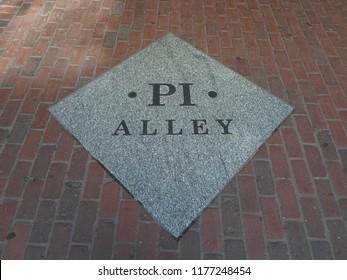 Boston, Massachusetts / USA - 9/11/2018: Pi Alley Plaque, Pi Alley, Downtown Boston