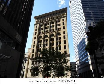 Boston, Massachusetts / USA - 9/15/2018: Ames Building, Court Street, Downtown Boston
