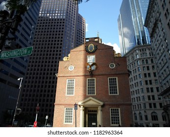 Boston, Massachusetts / USA - 9/18/2018: Old State House, Washington Street, Downtown Boston