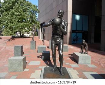 Boston, Massachusetts / USA - 9/19/2018: Bill Russell Legacy Project, City Hall Plaza, Downtown Boston
