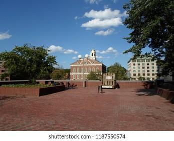 Boston, Massachusetts / USA - 9/24/2018: Faneuil Hall from City Hall Plaza, Downtown Boston
