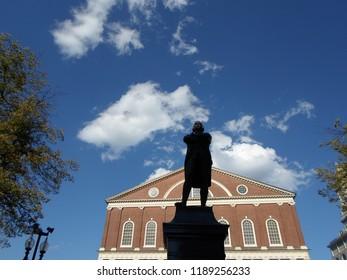 Boston, Massachusetts / USA - 9/26/2018: Samuel Adams statue, Faneuil Hall