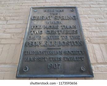 Boston, Massachusetts / USA - 9/6/2018: Spring Lane Plaque, Spring Lane