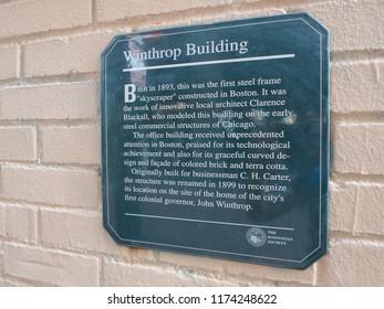 Boston, Massachusetts / USA - 9/7/2018: Winthrop Building Plaque, Spring Lane