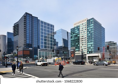 BOSTON, MASSACHUSETTS, USA - APRIL 2018: Modern office buildings recently constructed in the Seaport district