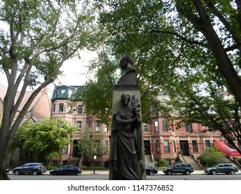 Boston, Massachusetts / USA - August 1 2018: A monument to former Boston Mayor and Congressman, Patrick Andrew Collins, located on Commonwealth Avenue between Clarendon and Dartmouth Streets.