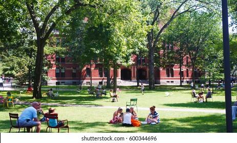 Boston, Massachusetts, USA - August 20, 2013:Harvard University - one of the most famous universities in the US and around the world. Located in Cambridge, Massachusetts.