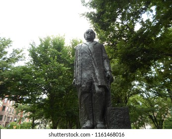 Boston, Massachusetts / USA - August 21 2018: Domingo Faustino Sarmiento statue, Commonwealth Avenue Mall