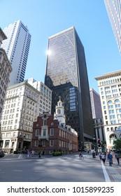 Boston, Massachusetts, USA - August 31 2017: Old State House at the site of Boston Massacre