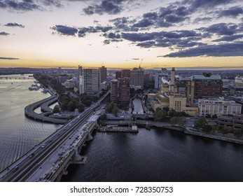 Boston Massachusetts USA, Back Bay Skyline of downtown on a Summer, Aerial view