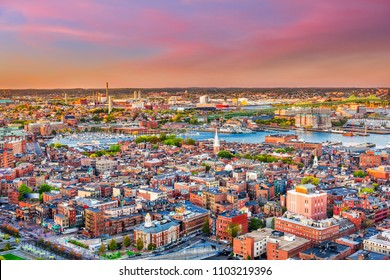 Boston, Massachusetts, USA cityscape over North End.
