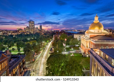 Boston, Massachusetts, USA cityscape with the State House.