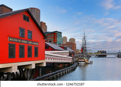 Boston, Massachusetts, USA - December 1, 2018: Boston Tea Party Museum at sunrise, which is a floating history museum with live reenactments, multimedia exhibits & a tearoom.Boston, USA.