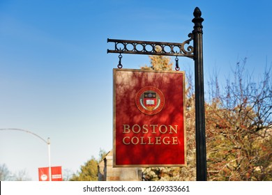 Boston Massachusetts USA - December 25. 2018: The entrance sign of Boston College, Boston, Massachusetts. Boston College is a private Jesuit Catholic research university.