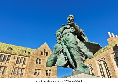 Boston Massachusetts USA - December 25. 2018: Sculpture of St. Ignatius of Loyola, founder of the Jesuit order, on the campus of Boston College in Chestnut Hill, Massachusetts.