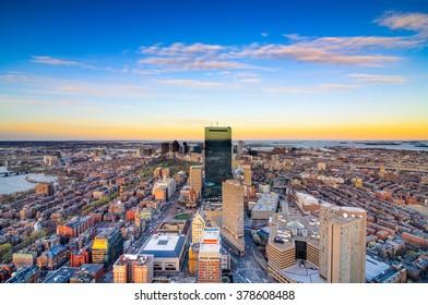 Boston, Massachusetts, USA downtown aerial skyline view.