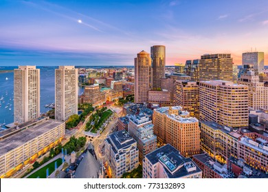 Boston, Massachusetts, USA downtown cityscape at dusk over Atlantic Avenue