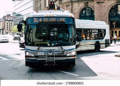 Boston, Massachusetts, USA - July 15, 2019 : MBTA Silver Line Bus system is the nation's sixth largest by ridership and comprises over 150 routes across the Greater Boston area, in Boston, Mass, USA.