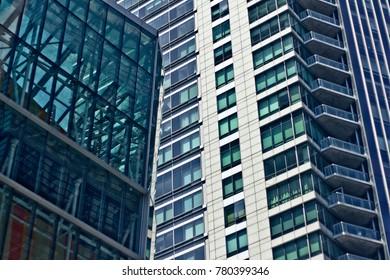 Boston Massachusetts USA July 2016 - Juxtaposition of two  skyscrapers in downtown Boston.