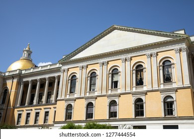 Boston, Massachusetts / USA - July 24 2018: Back side of the Massachusetts State House, with the Gold  Sacred Cod dome in the background