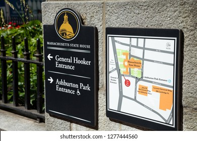 Boston, Massachusetts / USA - July 24 2018:  Exterior map and sign outside of the Massachusetts State House