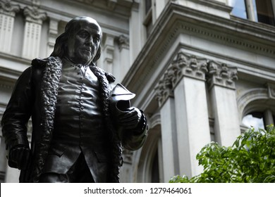 Boston, Massachusetts / USA - July 24 2018: Close up on the Benjamin Franklin statue by Richard Saltonstall Greenough, outside the Old City Hall in historic Boston, with space for text on the right