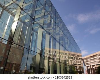 Boston, Massachusetts / USA - June 2 2018: Government Center station and Boston City Hall (right), Government Center
