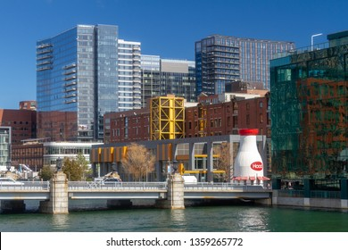 BOSTON, MASSACHUSETTS, USA - MARCH 23, 2019 The Seaport District, Fort Point Channel, and the Children's Museum