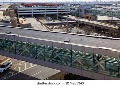 BOSTON MASSACHUSETTS USA - MARCH 27TH 2018; Elevated view of the bridge and car park at Logan International airport