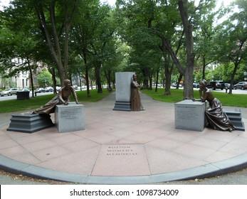 Boston, Massachusetts / USA - May 25 2018: Boston Women's Memorial, Commonwealth Avenue Mall