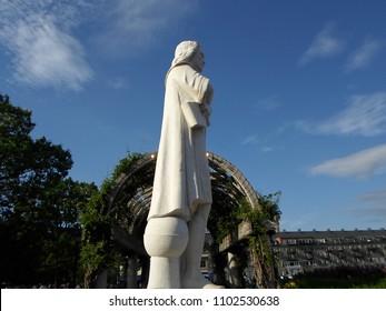 Boston, Massachusetts / USA - May 31 2018: Christopher Columbus Statue, Boston Harbor