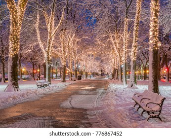 Boston in Massachusetts, USA at night showcasing the Commonwealth Avenue with its Christmas Lights after the first snow fall of the year.
