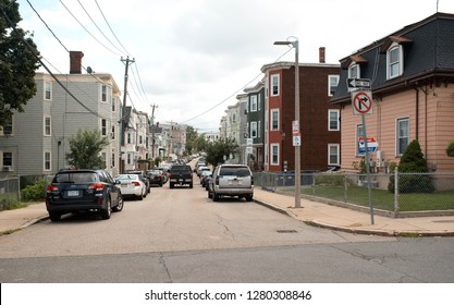 BOSTON, MASSACHUSETTS, USA - OCTOBER 14, 2018: Busy streets in Dorchester, Boston where rents are rising and the real estate market is moving rapidly.
