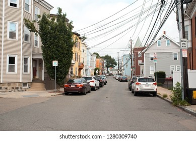 BOSTON, MASSACHUSETTS, USA - OCTOBER 14, 2018: Walking through residential neighborhoods in South Boston where real estate prices are skyrocketing.