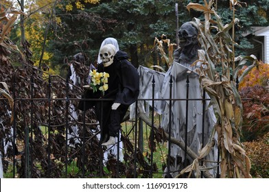 Boston, Massachusetts, USA – October 21, 2009: skeletons and pumpkins decorated ordinary houses for Halloween in New