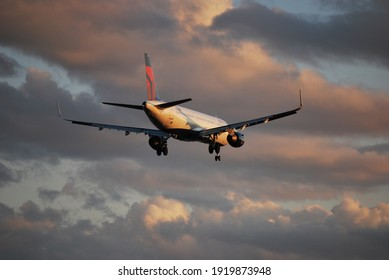 Boston, Massachusetts, USA - October 3, 2020: Several Delta Air Lines Airbus A321 planes were operating in Boston Airport.