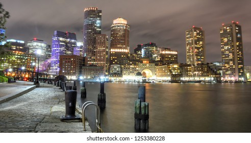 Boston, Massachusetts, USA - October 4, 2015: The Boston skyline and Fort Point Channel at night