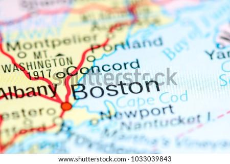 Boston Massachusetts USA On Map Stock Photo (Edit Now) 1033039843 ...