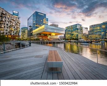 BOSTON, MASSACHUSETTS, USA - SEPTEMBER 10, 2019: The iconic architecture of Boston in Massachusetts, USA at Sea Port Boulevard at sunset.