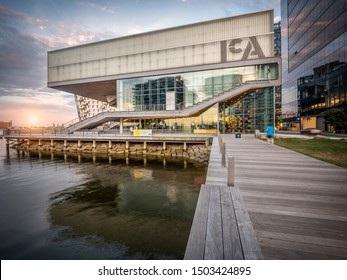 BOSTON, MASSACHUSETTS, USA - SEPTEMBER 10, 2019: The modern architecture of Boston in Massachusetts, USA at sunset by the ICA museum at Seaport Boulevard.