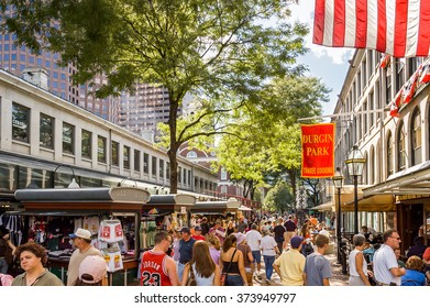 Boston, Massachusetts, USA - September 3,2005 : Street scene at Quincy Market  in Boston, Massachusetts with  people shopping