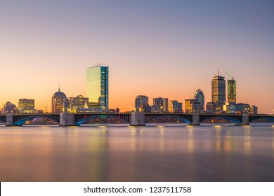 Boston, Massachusetts, USA skyline on the Charles River at dawn.
