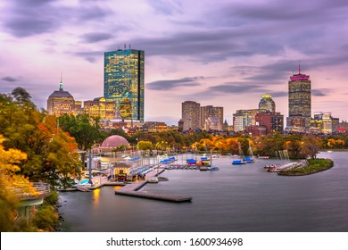 Boston, Massachusetts, USA skyline on the Charles River at dawn.