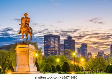 Boston, Massachusetts, USA skyline at the public garden.
