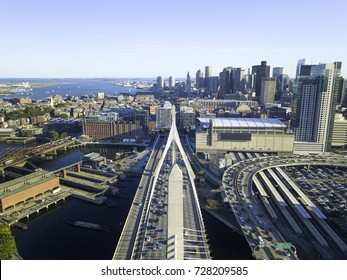 Boston Massachusetts USA, skyline skyscrapers and office buildings in Back Bay, Urban panorama, downtown pier.