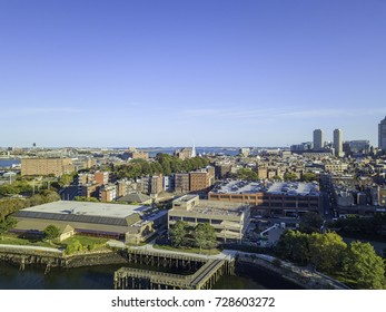 Boston Massachusetts USA,Back Bay  skyline skyscrapers Back Bay, Urban panorama, downtown pier.