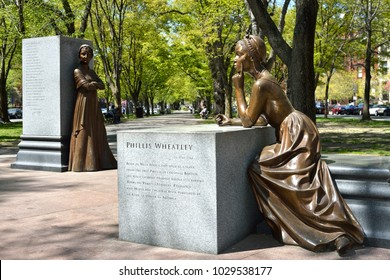 BOSTON, MASSACHUSETTSS - MAY 3: Phillis Wheatley and Abigail Adams at the Boston Women's Memorial in Back Bay, Boston, a monument celebrating women's history in the USA. As seen on May 3, 2013.
