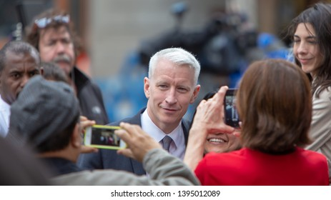 Boston, Massachusetts/USA - April 19, 2013:  Anderson Cooper in Boston after the marathon bombing.  CNN broadcast live from the site for about a week.